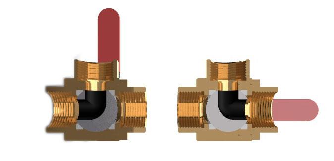 Схема соединений каналов в различных положениях ручки трехходового L-образного крана