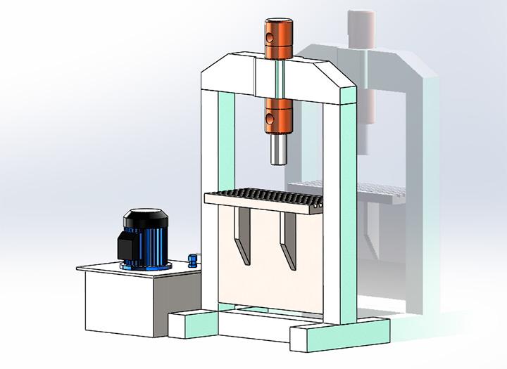 Гидравлический пресс с вертикальным цилиндром и приводом от электродвигателя