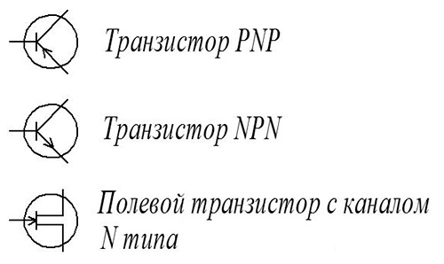 Условное обозначение транзисторов